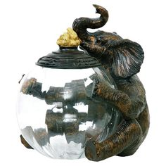 Elephant Jar Keeper = trunk up means good luck + perfect place to display favorite little things