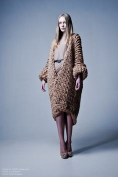 Knitted chunky coat and dress by Vingil. Photo H. Catherine