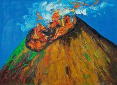Volcán Telica - parte  de la  colección VOLCÁNICA Óleo 61x16 cm Autor Zenelia Roiz Nicaragua $900 http://zeneliaroizs.wixsite.com/misitio               El Telica es un volcán ubicado en el departamento de León, Nicaragua. Se ubica en la Cordillera de los Maribios; tiene 1060 metros de altura sobre el nivel del mar. Se llama así por estar cerca del municipio del mismo nombre.  Elevación: 1.061 m Última erupción: 11 de mayo de 2015