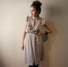Silver Gray Women Ruffles Dress Spring Dress by BLUSHFASHION, $54.00