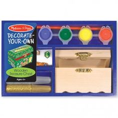 Melissa & Doug Decorate-Your-Own Wooden Treasure Chest. Includes a wooden chest, glitter glue, colorful stickers, 4 pots of paint and a brush / Perfect activity for parties or rainy days / Ages: years Party Favors For Kids Birthday, Pirate Birthday, Pirate Party, Birthday Stuff, 2nd Birthday, Birthday Ideas, Treasure Chest Craft, Wooden Chest, Childrens Party
