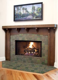 Tile - color and pattern, wood surround, shape of hearth with wood frame