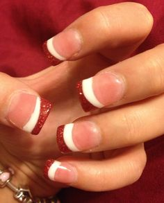 Valentines Day nails- gel nails with white and glittery red tips.