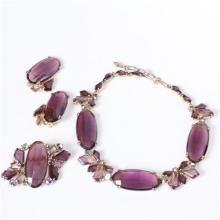 Schiaparelli 3pc. Parure; Purple Necklace, Pin, & Clip on Earrings.