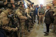 German MoD Ursula von der Leyen talks to German infantry soldiers in Afghanistan, December 2013