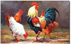 """arte artesanía animal pintura al óleo"""" granja gallo y las gallinas"""" sobre lienzo 24x36"""""""