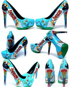 Adventure Time Heels hand painted with by WickedAddiction on Etsy, $200.00 yea I am a dork like that!