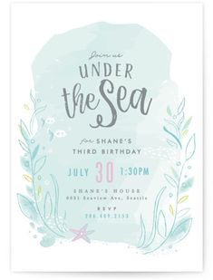 Throw An Under The Sea Celebration With This Children's Birthday Invitation Featuring A Water Color Background And Whimsical Ocean Life. Blue Children Birthday Party Invitations From Minted By Independent Artist Karidy Walker. Mermaid Party Invitations, Kids Birthday Party Invitations, Birthday Invitation Templates, Invitation Wording, Invitation Ideas, Printable Invitations, Shower Invitation, Mermaid Parties, Under The Sea Party