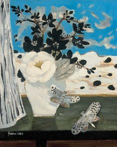 Mary Fedden - Still life with dragonflies