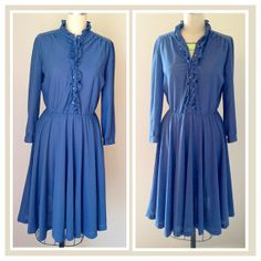 Dusk Blue Country Strong Ruffle front long sleeve Vintage Blouson Shirt Dress size 12 on Etsy, $35.00
