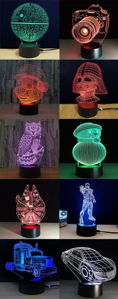 How to decorate your living OFF Led Night Light to shop e Shipping Worldwide! Lampe 3d, Deco Cool, Deco Nature, Ideias Diy, Led Night Light, Night Lights, Cool Inventions, Illusions, Diy And Crafts