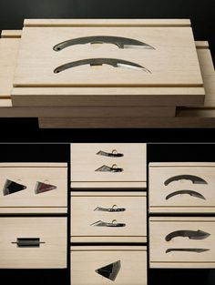designer Keiji Ashizawa incorporated apple wood in his Hirosaki Knife Box, produced for Wallpaper's Handmade collection of objects. via core 77 Japanese Tools, Japanese Woodworking, Carpentry Tools, Woodworking Projects, Collections Of Objects, Home Tools, Tool Storage, Knife Making, Wood Boxes