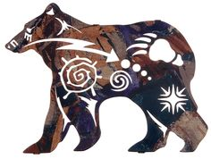 New Spirit Bear Wildlife Metal Wall Art. Here we have the powerful polar bear in silhouette as emblems of the northern night sky and massive bear track emblazon his side. Beautifully designed, this wi Native American Symbols, Native American Design, Native American Patterns, American Indians, Urso Bear, Spirit Bear, Atelier D Art, Laser Cut Metal, Laser Cutting