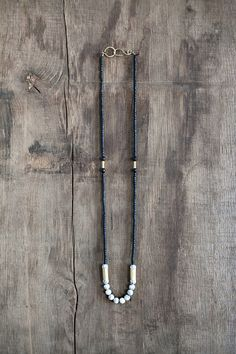 Mixed Media Boho Necklace/ Black Gold Grey Necklace /  Coconut Wood Gemstone Necklace / Brass Necklace