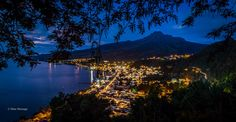 Saint-Pierre and mount Pelée by night. Martinique fwi