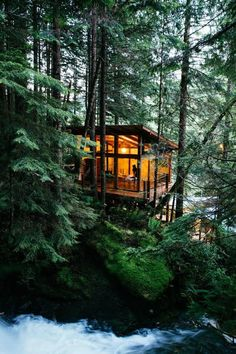 Tiny House Cabin, Tiny House Plans, Cabin Homes, Cabins In The Woods, House In The Woods, Cabins In The Mountains, Building A Cabin, Tree House Designs, Forest House