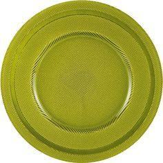 Der runde Platzteller von NOVEL sticht durch seine moderne Farbgebung ins Auge. So besteht das Modell aus grünem Glas.