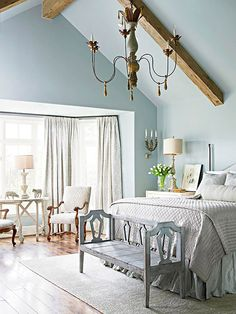 Bay for a Bedroom, like the bench at the end of the bed. Could make one from two chairs?!