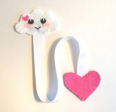 *Cute White Cloud Bookmark, Felt Bookmark* This bookmark is the perfect gift for any book lover and to encourage your child to read! It makes reading more fun than ever and a great way to mark your pages! https://www.etsy.com/shop/FluffedNStuffed