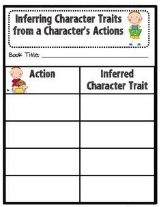 Inferring Character Traits: chart to track revealing character actions and what they say about that character.