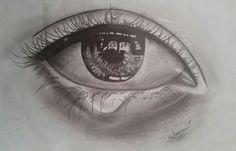 Een schets van een huilend oog