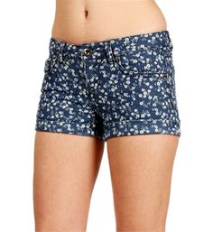 Medium Denim Flower Cuff Shorts