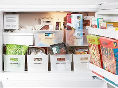 Store frozen foods and meats in easily accessible, labeled plastic bins, as REDBOOK reader and organizing pro Sue Becker did here. You'll never freeze your fingers hunting through your well-stocked but overpacked freezer again.