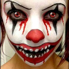 Trishas Theatrical Makeup FB Page - Halloween Makeup Scary Clown Face, Creepy Halloween Makeup, Scary Clowns, Scary Makeup, Diy Makeup, Face Makeup, Scary Clown Costume, Clown Faces, Halloween Clown