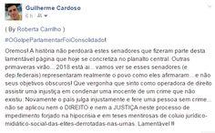 Roberta Carrilho: CONSUMADO O GOLPE PARLAMENTAR NO BRASIL - DIA 31/0...