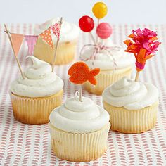Cute Cupcake Toppers! Create miniature balloons out of lollipops, make tiny garland and more: http://www.parents.com/fun/birthdays/planning/birthday-party-ideas/?page=3=pmmpin050712cupcaketoppers