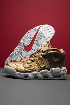 As great a canvas as any for Supreme to scrawl its trademark logo on, the Nike Air More Uptempo is a kindred spirit to the New York skate brand. Like Supreme, Scottie Pippen's former signature shoe came of age in the '90s golden age of street fashion. Air Force Ones, Nike Air Force, Nike Air Max, James Jebbia, Street Fashion, Men Fashion, Air Max Sneakers, Sneakers Nike, Trademark Logo