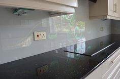 Grey and Green Crystal Swirls Kitchen Glass Splashbacks glass kitchen splashback by CreoGlass Design (London,UK). For more glass kitchen splashbacks and non-scratch worktops visit www.creoglass.co.uk #backsplash #kitchen