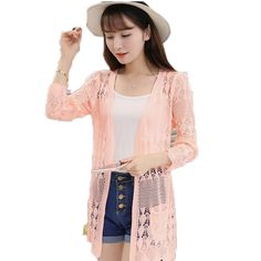 2017 Ladies Crochet Tops Summer Hollow Out Knitted Sweaters Cardigan Rebecas Mujer Fashion Women Beach Cardigan Spring Autumn #Affiliate