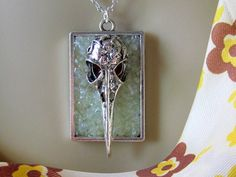 Bird Skull Necklace Pagan Jewelry Gothic Raven Necklace Black