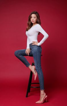 Slim Fit Scoop Back Tee is part of fashion Girl Art Colour - Korean Women's Fashion Shopping Mall, Styleonme N Fashion Models, Girl Fashion, Womens Fashion, Poses Modelo, Femmes Les Plus Sexy, Sexy Jeans, Beautiful Asian Women, Beautiful Images, Wonder Women