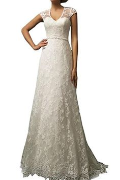 Product Feature Classical A Line Wedding Dresses With The Fashionable Lace Sexy Sheer Scoop Illusion Back, Sparkly Crystal Belt Make You are in good shape.Suitable for Beach Wedding,beach ,country ,graden .all can choose this dress 🙂 also we can Free custom made the dress, if you need custom ma...