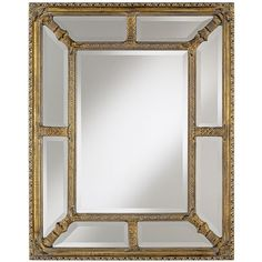 """Glass and Gold Border Small 35"""" High Wall Mirror - #T9176 ($160) ❤ liked on Polyvore"""