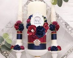 Unity Candle Set Navy Blue and Dusty Rose Gold Wedding Personalized Unity Candle Set Lace Monogram Navy Blue Wedding Decor Ceremony Candles Money Box Wedding, Card Box Wedding, Be My Bridesmaid Cards, Will You Be My Bridesmaid, Handmade Decorations, Wedding Decorations, Wedding Champagne Flutes, Wedding Unity Candles, Burgundy Wedding