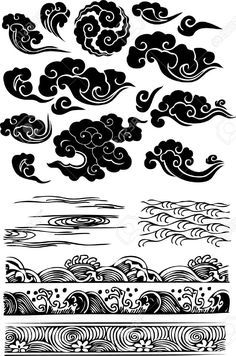 Amazing-Black-Japanese-Clouds-Tattoo-Flash.jpg (861×1300)