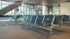 The upscale bench series 8000, Design by Studio F.A. Porsche, from Kusch+Co at Stockholm Arlanda Airport.