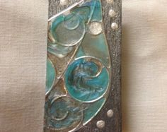 """Silver & Teal Leaf Wood Pin, 1 X 2"""", Hand Painted Metallic Finish"""