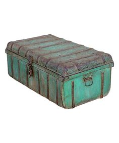 Take a look at this Turquoise Green Vintage 1950s Iron Traveler's Storage Trunk on zulily today!