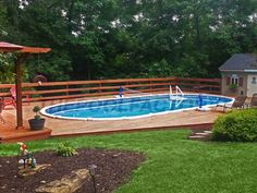 View customer submitted photos of our Saltwater 8000 swimming pool model. Available in both round and oval shapes - in-stock and ready to ship today! Semi Above Ground Pool, In Ground Pools, Swimming Pool House, Swimming Pools, Semi Inground Pools, Above Ground Pool Landscaping, Backyard Patio, Backyard Ideas, Patio Ideas