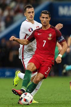 #EURO2016 Cristiano Ronaldo of Portugal controls the ball during a quarter final match between Poland and Portugal as part of UEFA Euro 2016 at Stade Velodrome...