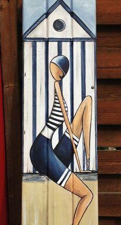 """""""La demoiselle de la cabine"""" peinture sur bois"""