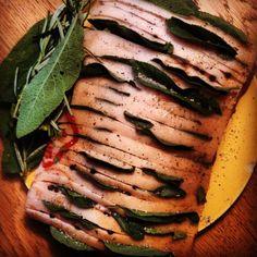 preparing roast #pork with plenty of #sage and #rosemary