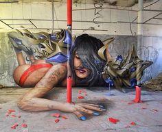 Street art | Mural (France, Dec14) by Jeaze Oner, Sweo, and Des3
