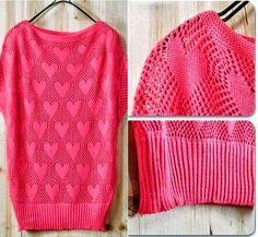 Crochet y Dos agujas: Blusa de corazones para San Valentín