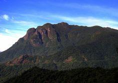Vista do Conjunto Marumbi, ou Serra Marumbi, a partir da ferrovia que vai de Paranaguá a Curitiba e faz parte da Estrada de Ferro do Paraná. A Serra Marumbi é formada pelas montanhas: Olimpo (1.539 m.), Boa Vista (1.491 m.); Gigante (1.487 m.); Ponta do Tigre (1.400 m.); Esfinge (1.378 m.); Torre dos Sinos (1.280 m.); Abrolhos (1.200 m.); Facãozinho (1.100 m.) e pelo Morro Rochedinho (625 m). Fotografia: Guilherme Scholz.