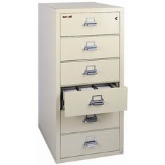 FireKing Fireproof 6-Drawer Card, Check, and Note Vertical File Cabinet Finish: Black, Lock: Key Lock